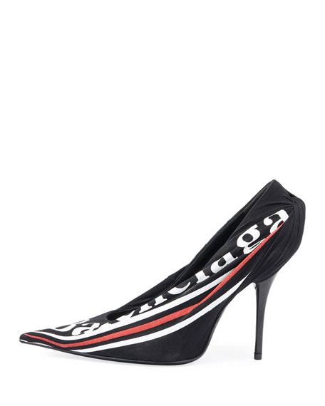 Ruched Logo Jersey Pumps