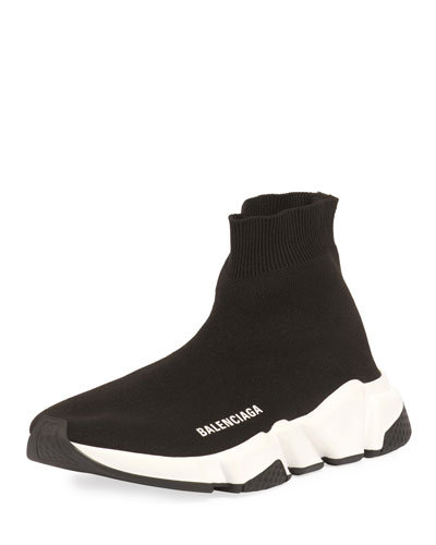 Stretch-Knit High-Top Trainer, Noir
