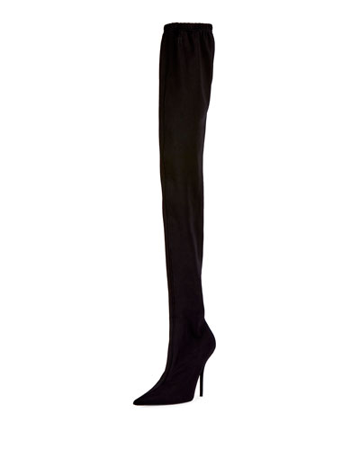 Jersey Crepe Over-the-Knee Boot, Black (Noir)