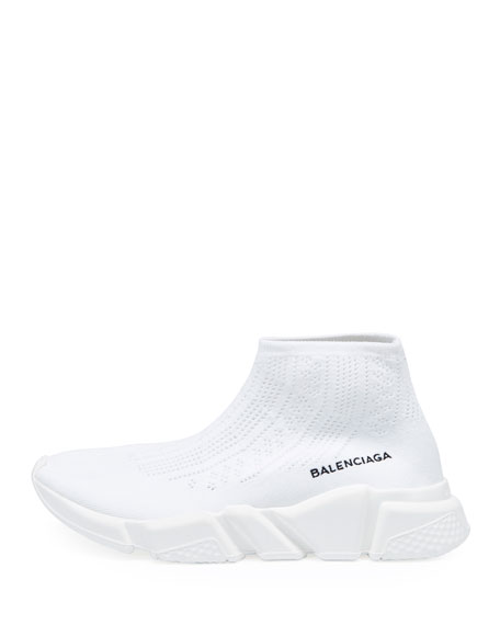 Stretch-Knit High-Top Trainer, Blanco