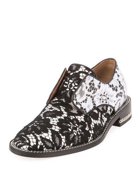 Givenchy Two-Tone Floral Lace Derby, Black/White