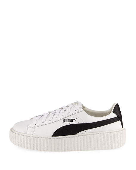 Leather Creeper Sneaker, White/Black