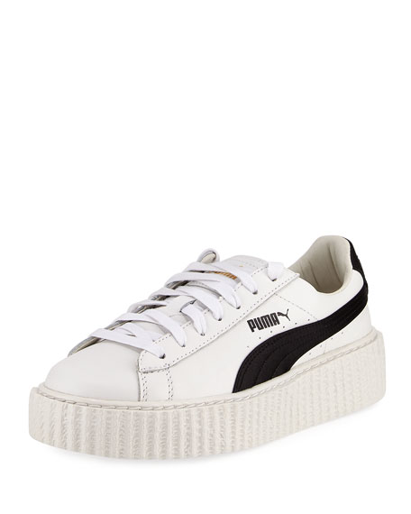 Fenty Puma by Rihanna Leather Creeper Sneaker, White/Black