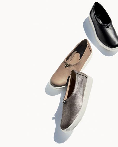 Sydney Metallic Suede Pull-Tab Sneaker, Platinum