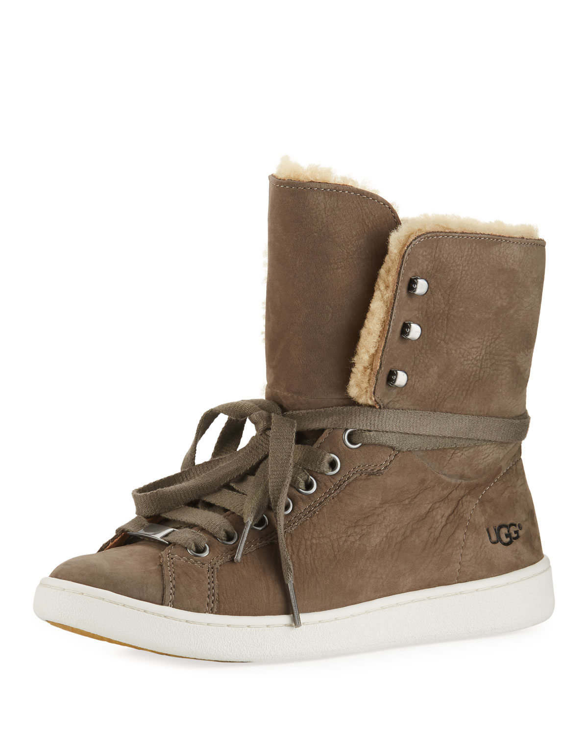 UGG Starlyn Leather and Shearling High Top Sneakers