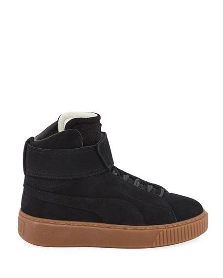 Suede Platform High-Top Sneaker, Black