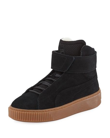 Puma Suede Platform High-Top Sneaker, Black