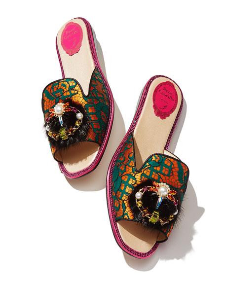 Mink-Trim Flat Lace Slide Sandals, Multi