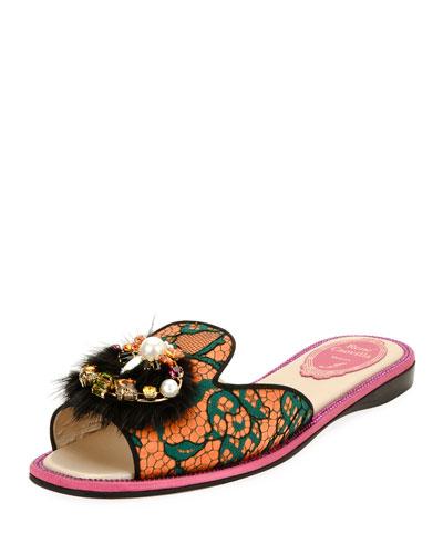 Mink-Trim Flat Lace Slide Sandal, Multi