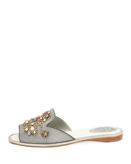 Beaded Flat Slide Sandal, Gray