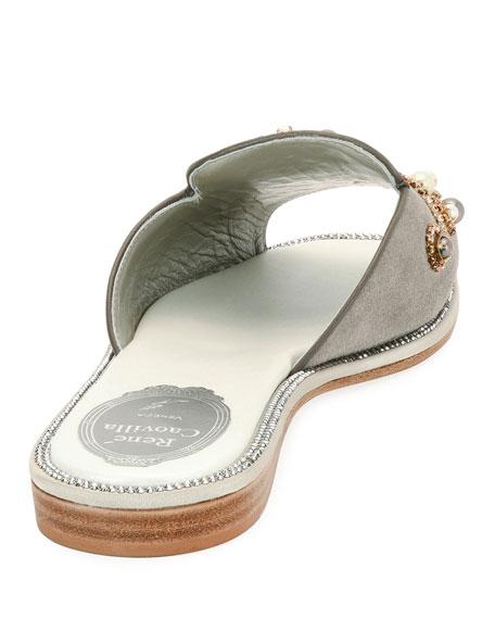 Beaded Flat Slide Sandal, Gray