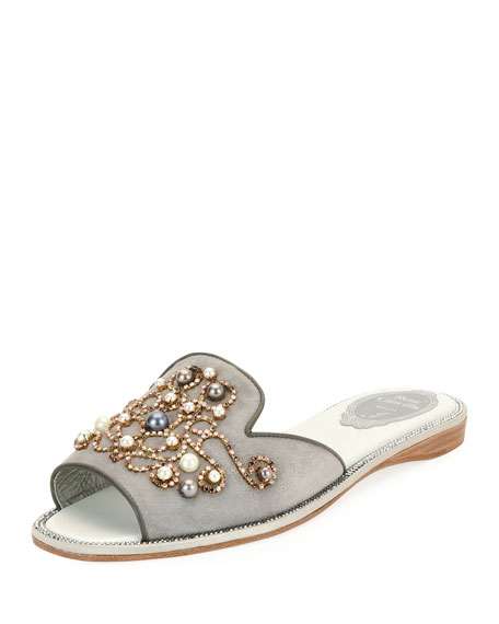 Rene Caovilla Beaded Flat Slide Sandals, Gray