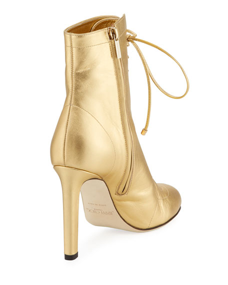Daize 100mm Metallic Leather Booties
