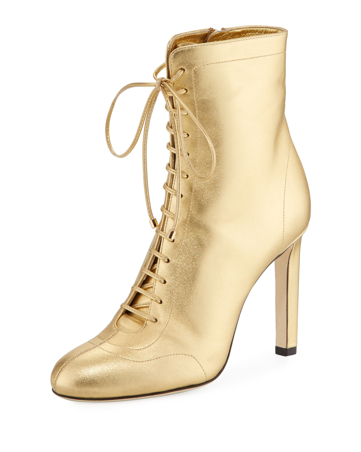 a3110b929e534 Jimmy Choo Daize 100mm Metallic Leather Booties | Neiman Marcus
