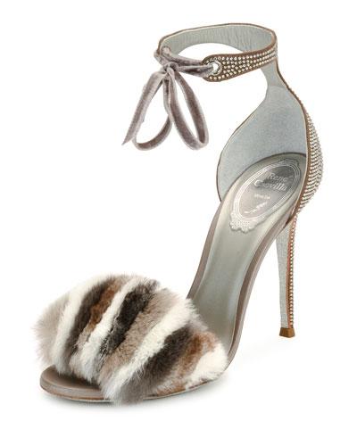 Fur & Crystal Ankle-Strap 105mm Sandal, Gray