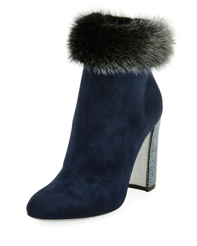 Mink-Trim Suede 100mm Bootie, Blue