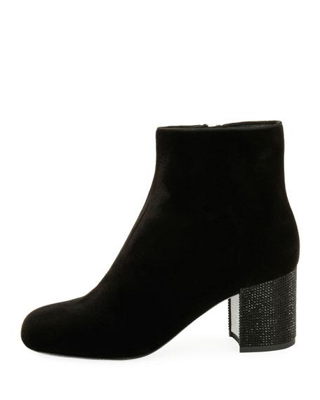 65mm Strass-Heel Velvet Bootie, Black