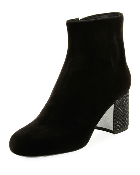 65mm Strass-Heel Velvet Bootie, Black