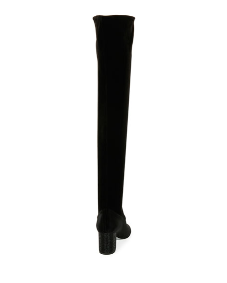 65mm Strass-Heel Over-the-Knee Velvet Boot, Black