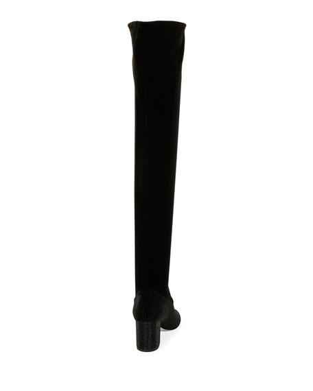 65mm Strass-Heel Over-the-Knee Velvet Boot, Black