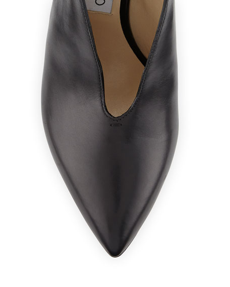 Lark Split-Front Ankle-Wrap Pump, Black
