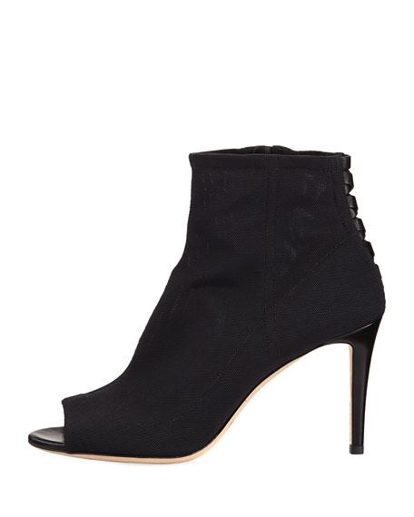 Driana Peep-Toe Mesh Bootie, Black