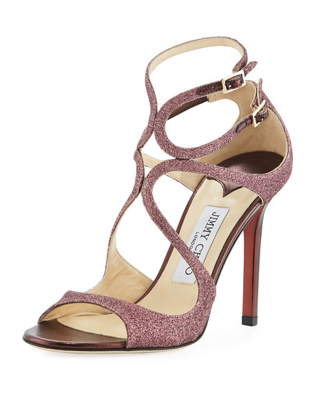 Jimmy Choo Lang Glitter Cutout 100mm Sandal