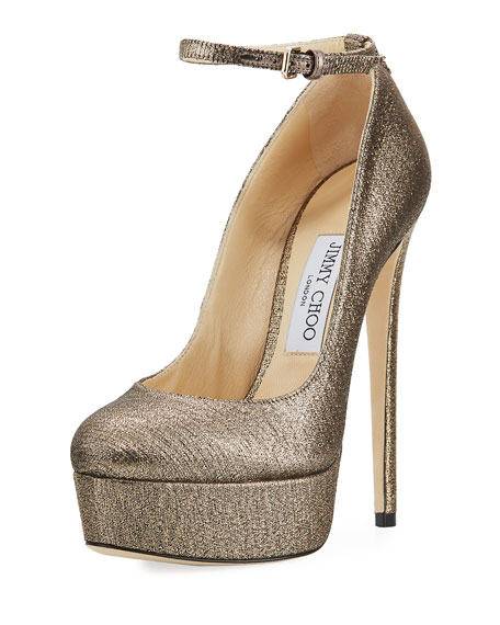 Jimmy Choo Klerise Metallic 150mm Platform Ankle-Wrap Pump