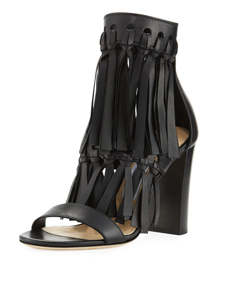 Jimmy Choo Malia Leather Fringe Block-Heel Sandal