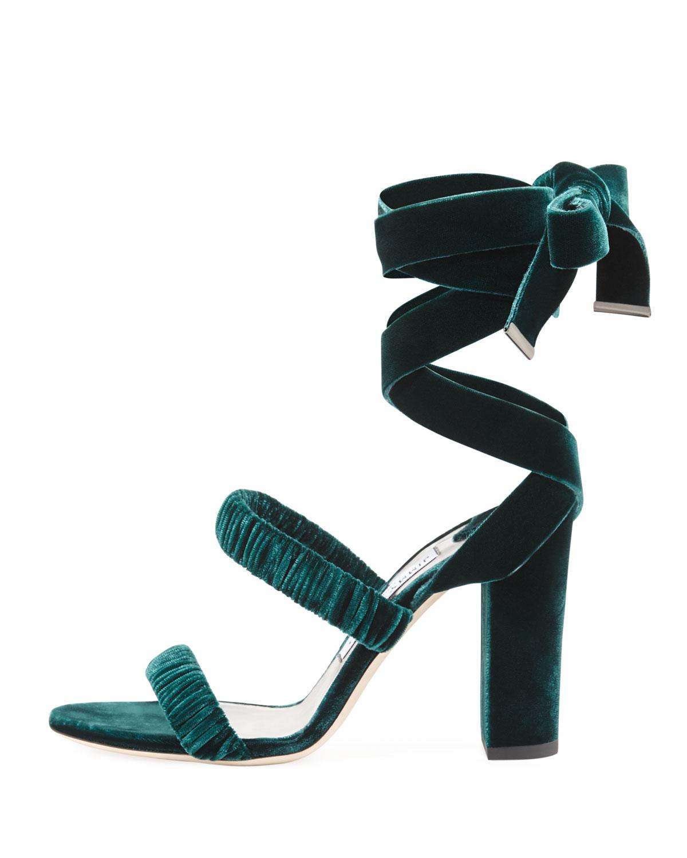 Jimmy Choo Marcella Velvet Ankle-Wrap Sandals, Green