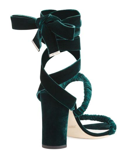 Marcella Velvet Ankle-Wrap Sandals, Green