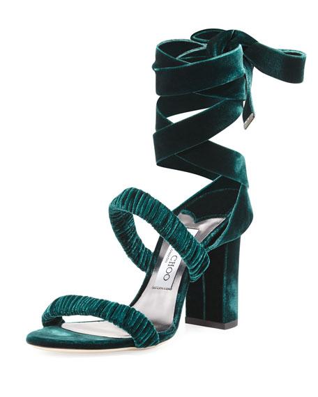 Jimmy Choo Marcella Velvet Ankle-Wrap Sandal, Green