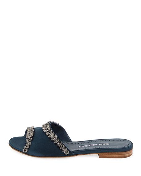 Triunslo Embellished Satin Flat Slide Sandal
