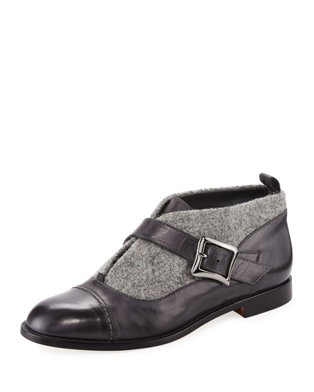 Manolo Blahnik Melindra Tweed and Leather Bootie