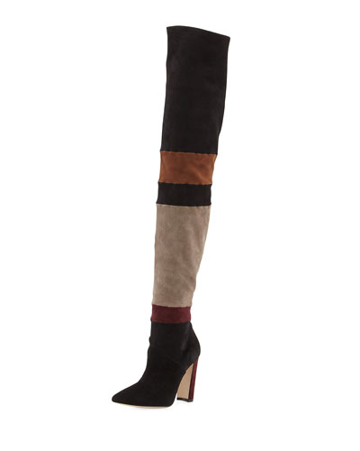 Epal Over-The-Knee Suede Boot, Black