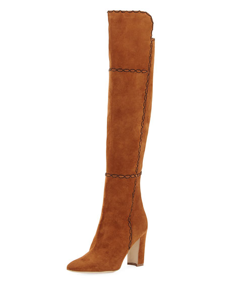 Rubiohi Stitched Suede Knee Boot, Brown
