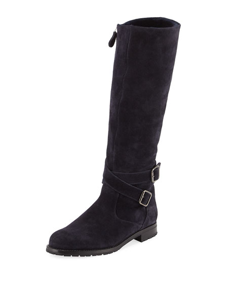 Manolo Blahnik Campocross Suede Zip Knee Boot, Navy