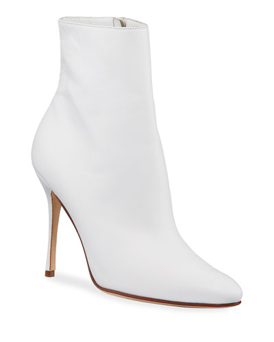 Insopo Leather Zip Bootie, White