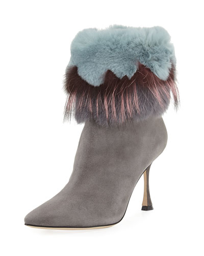 Remola 90mm Fur-Trim Suede Bootie