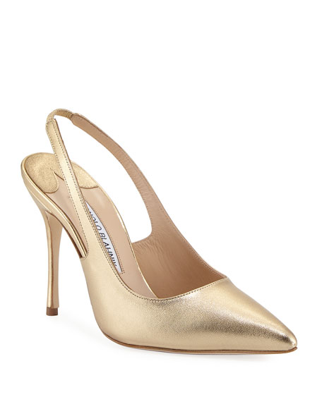 Manolo Blahnik Allura Metallic Leather Slingback Pump, Gold