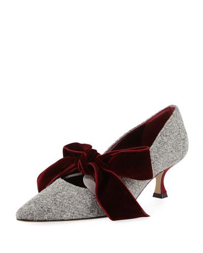 Serba Velvet Bow Tweed Pump, Gray