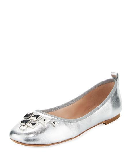 Cleo Studded Metallic Ballerina Flat