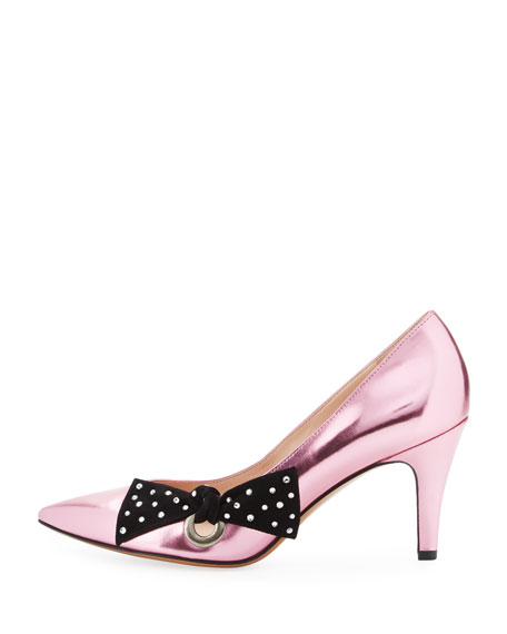 Daryl Metallic Bow Pump, Pink