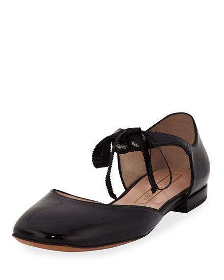 Marc Jacobs Alyssa Patent Tie Flat, Black