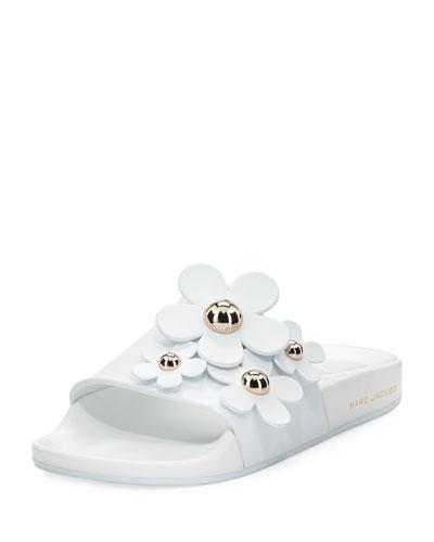 Daisy Flat Slide Sandal, White