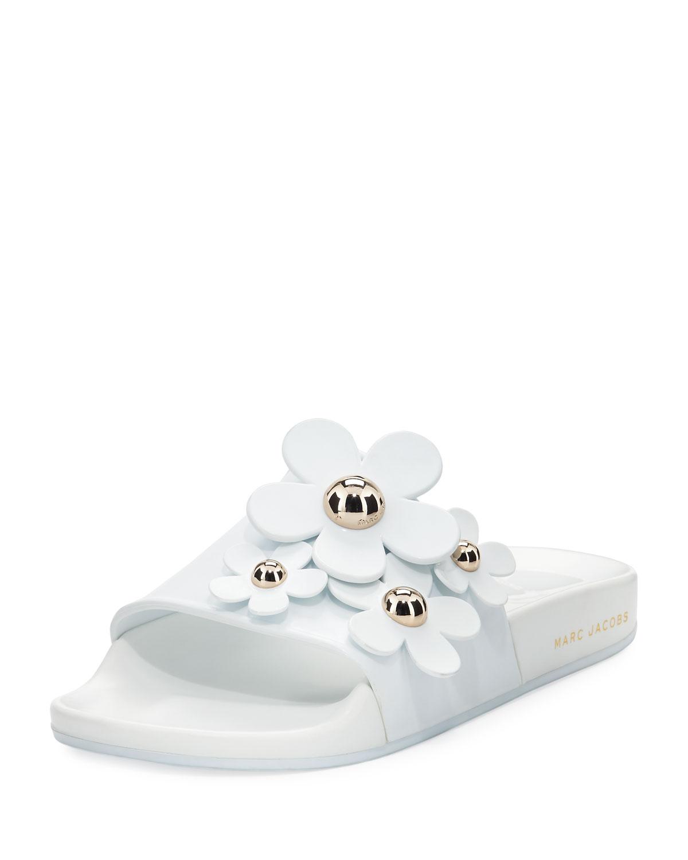 Marc Jacobs Daisy Flat Slide Sandal, White   Neiman Marcus