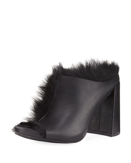 Pedro Garcia Yeruti Chunky-Heel Fur Slide Sandal