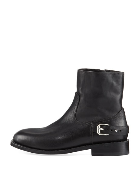 Oliver Flat Zip-Up Buckled Boot