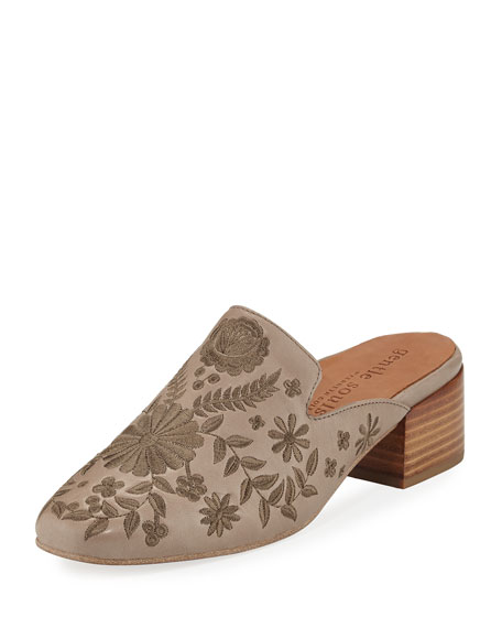 Gentle Souls Eida 2 Embroidered Leather Mule