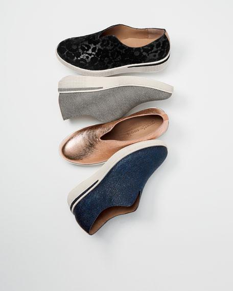 Hanna Flocked Leather Slip-on Sneaker, Black